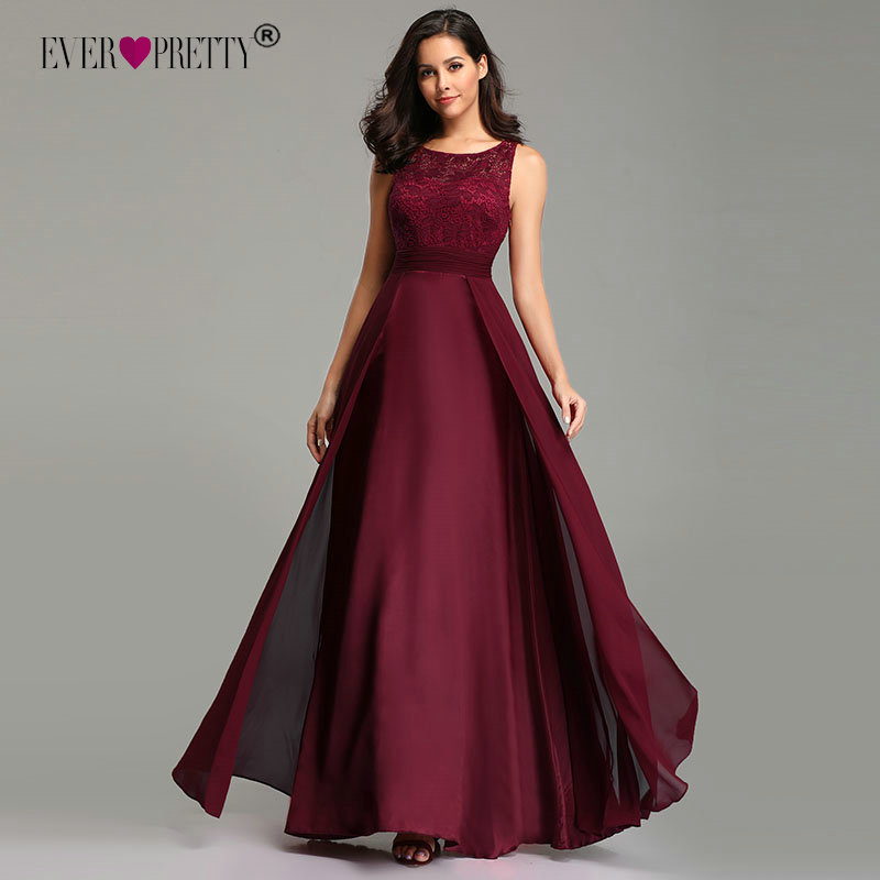 Burgundy Prom Dresses Long 2020 Ever Pretty Women's Sexy A-line O Neck Sleeveless Chiffon Lace Cheap Formal Evening Party Gowns
