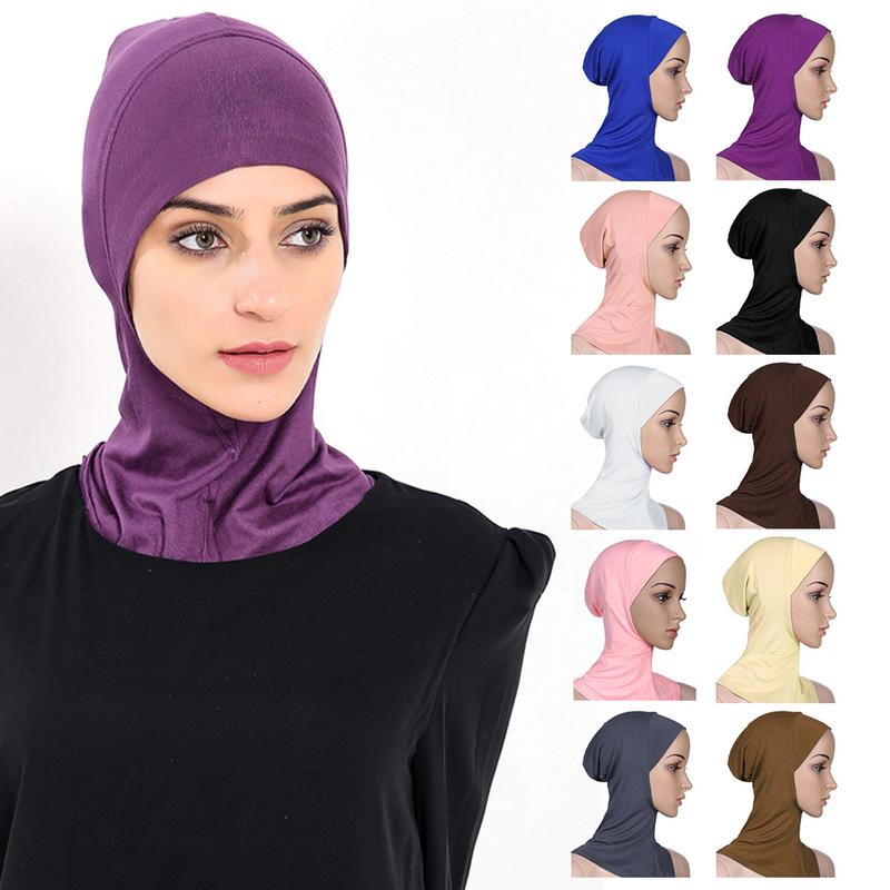 Muslim Style Adjustable Women   skullies     beanies   Headscarf Sunscreen Modal Cotton Round Mouth Hui People Bottoming Hat Cap   beanie
