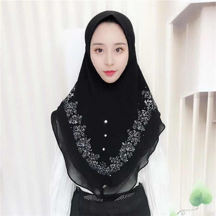 Muslim Cetak Chiffon Jilbab Instan Berlian Wanita Syal Bandana Berkerudung Membungkus Topi Selendang Jilbab Abaya Tutup Kepala Arab Islamic