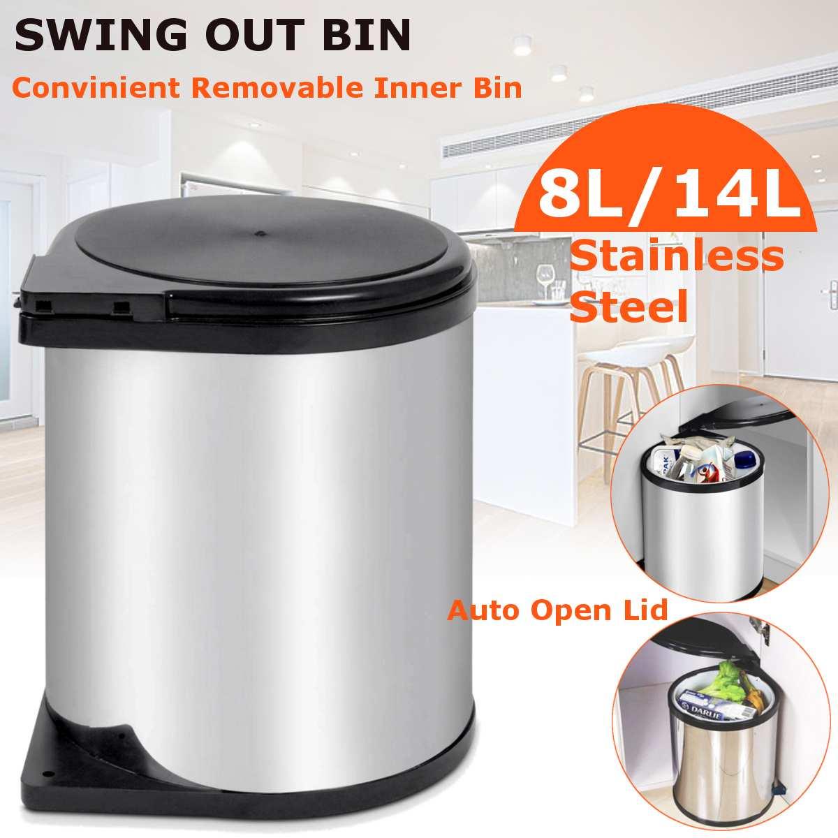 8L/14L armoire en acier inoxydable Auto balançoire poubelle rotation poubelle recycler Auto poubelles cuisine poubelle