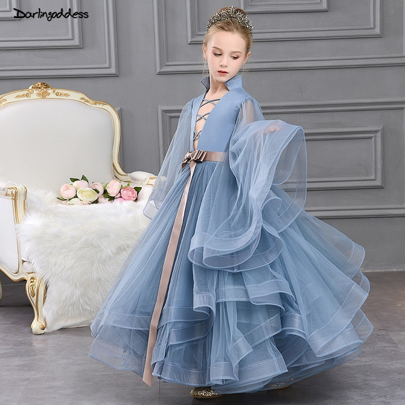 Puffy Gray Birthday Party Dress For Baby Girl 2019 Flower Girl Dresses For Weddings Kids Elegant Long Sleeve Pageant Gown