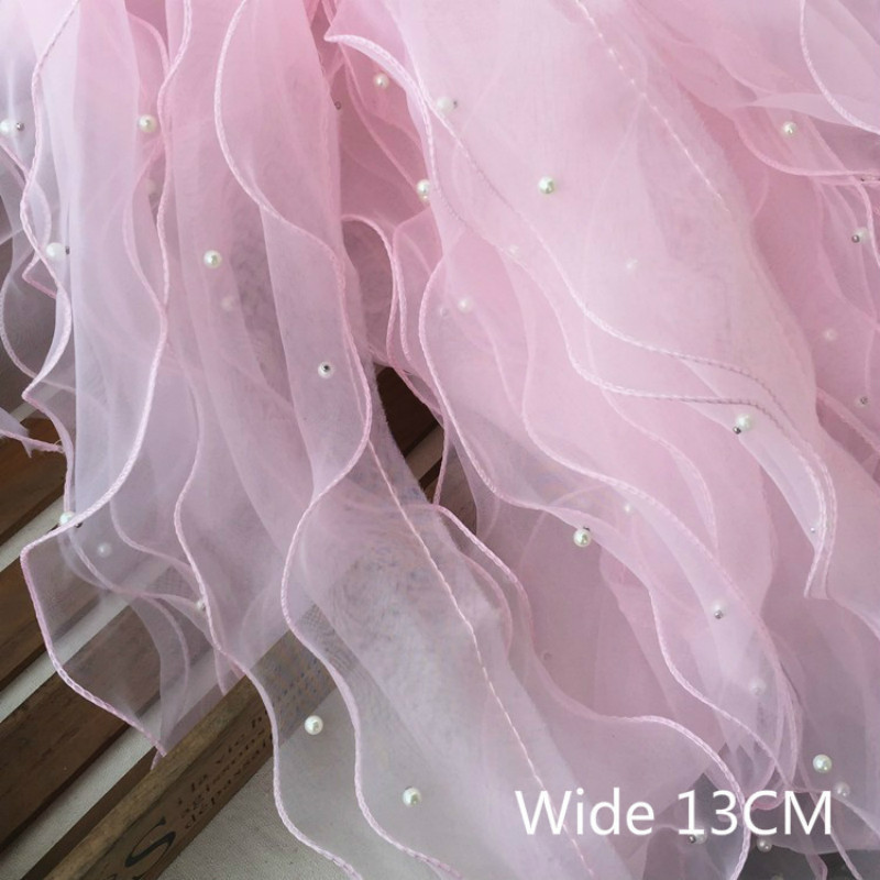13CM Wide Luxury Tulle Chiffon Lace Fabric Beaded Organza Ruffle Trim Ribbon Edge Dress Collar Applique DIY Sewing Fringe Decor(China)
