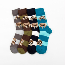 PEONFLY Cartoon Crab Sloth Fashion Stripes Harajuku Happy Men Casual Cotton Socks Funny Personality Hip Hop