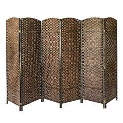 Panana короткий экран в китайском стиле, винтажная 6 панельная перегородка для стен, плетеная Складная консоль, разделитель для гостиной, Кабин...