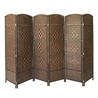 Panana Brief Screen Chinese Style Vintage 6 Panel Partition Walls Wicker Folding Console Living room Study Room Divider