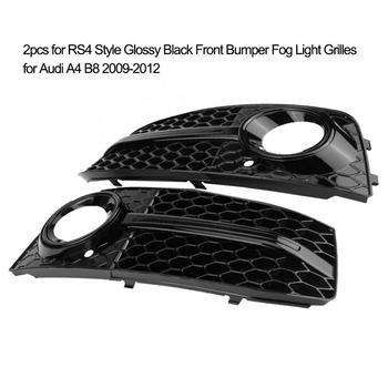 2 sztuk światło przeciwmgielne przedniego zderzaka kraty dla Audi A4 B8 2009 2010 2011 2012 dla RS4 styl czarny błyszczący akcesoria samochodowe