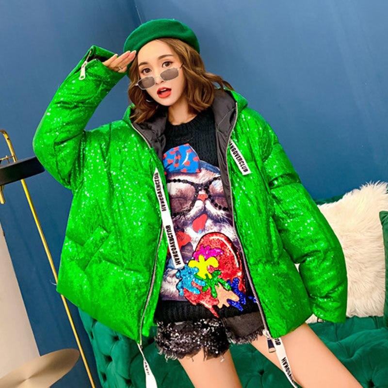 Veste 55 D'hiver 2018 Europe Mode Étudiants Green Streetwear Manteau Parka Capuchon Outwear Rose Femmes Coton Paillettes À Vestes De Chaud pink xwU4UIr