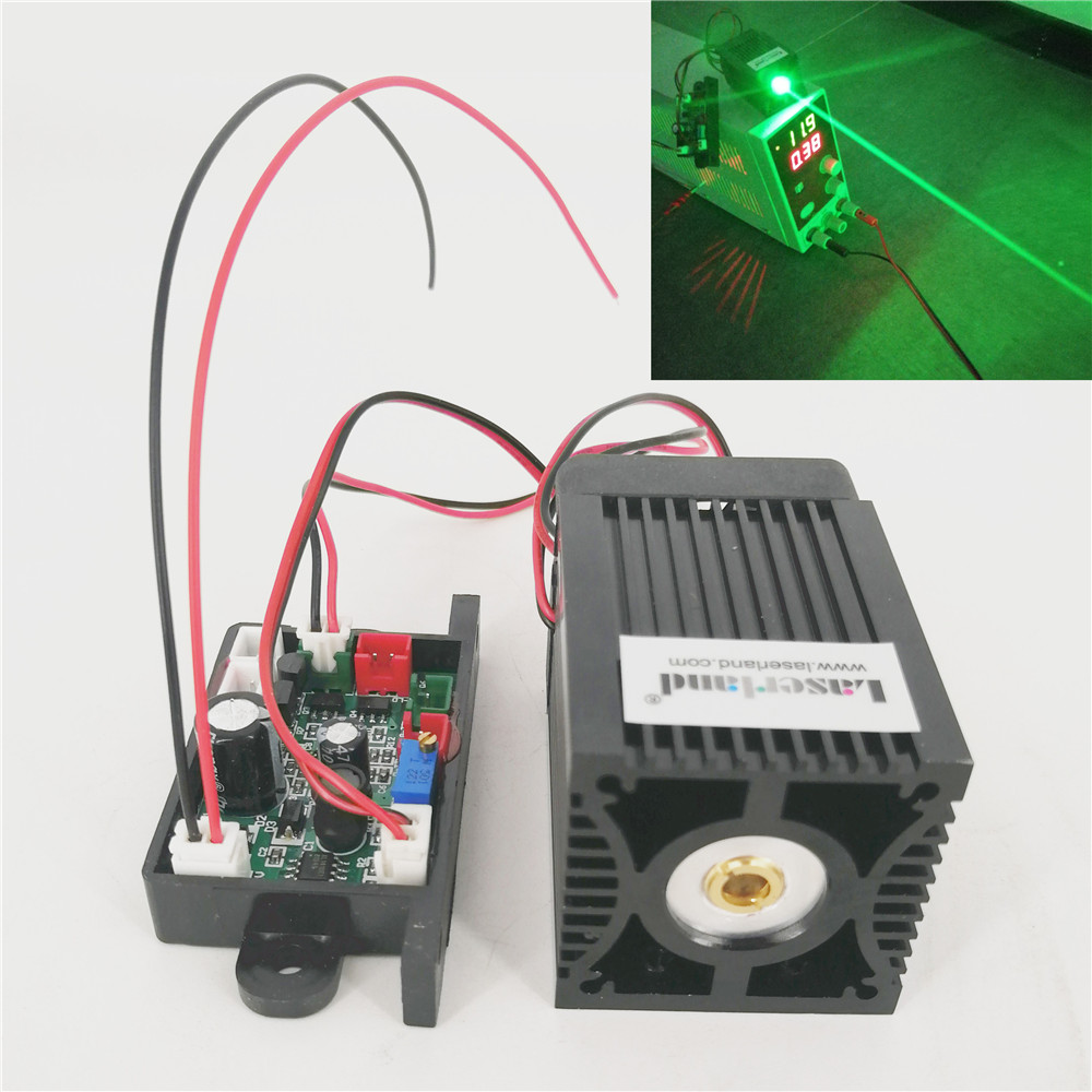 TEC 530nm 200mw Green Diode Laser Module TTL for Stage Lighting Bird Scaring Laser Harp Escape