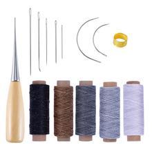 DIY кожаный швейный инструмент ручной швейный игла Вощеная моток веревки бурение наперсток ремонт инструмент для кожевенных ремесел инструмент