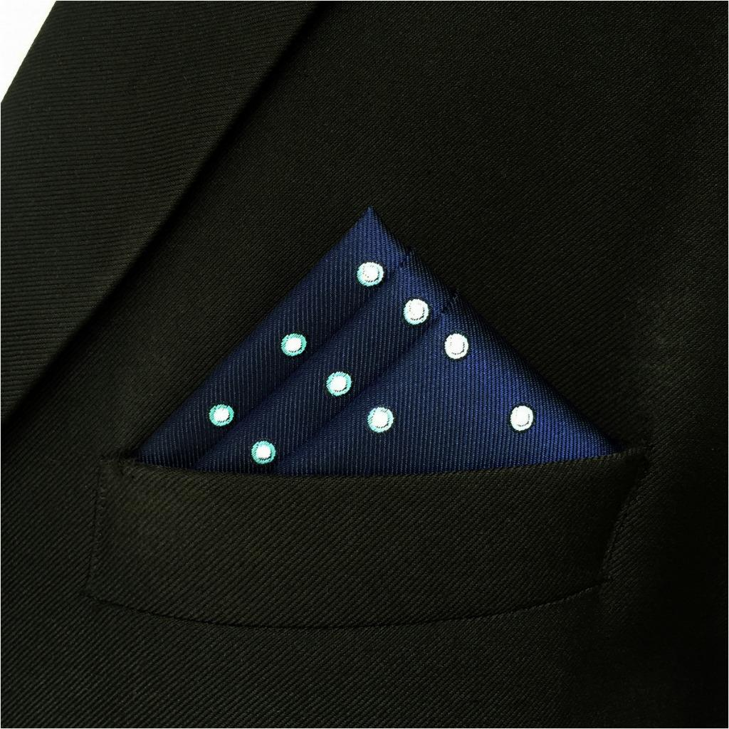 EH24 Blue Men's Pocket Square Dots Dress Classic Handkerchief Wedding Fashion Hanky