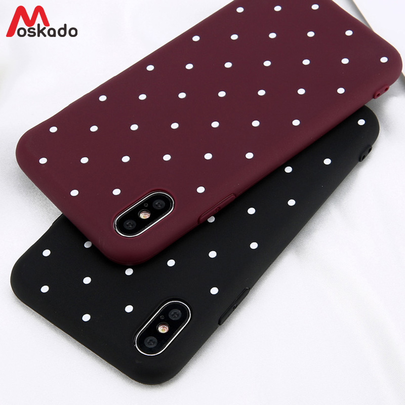 Moskado Polka Dots Phone Case For Iphone 11 7 6 6s Plus Fashion Wave Point Fresh Cover Soft TPU Cover For Iphone X XS Max XR