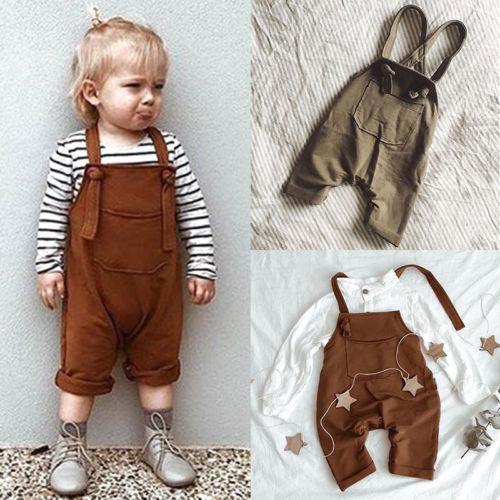 Baby Kids Boy Girls Knitting Suspender Trousers Newborn Long Bids Pants Overalls