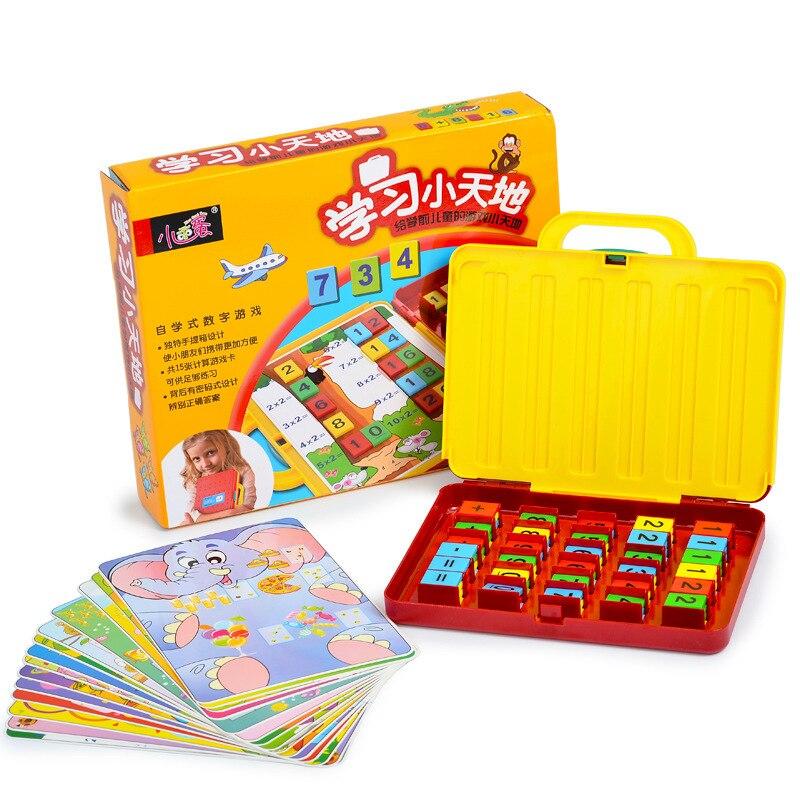 Montessori Créatifs Arithmétique Aides Pédagogiques Boîte Jouets Pour Enfants Avec 15 pièces Cartes D'apprentissage Précoce Cerveau Formation