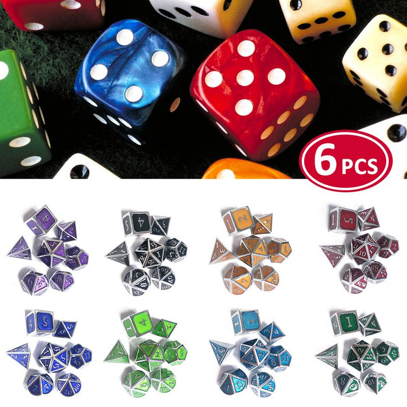 7pcs/set 8 Colors Polygon Magic Dice New Font Dungeons & Dragons Creative RPG Dice D&D Metal Dungeons Dice Set Wholesale