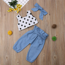 Детская одежда для девочек; пуловер в горошек с круглым вырезом и открытой спиной; топы без рукавов; однотонные бандажные штаны; повязка на голову с бантом; хлопковая одежда из 3 предметов