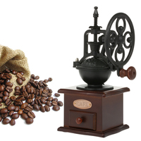 Manual Coffee Grinder Charming Antique Grinder Antique Coffee Mill Cast Iron Hand Crank with Grind Settings & Catch Drawer
