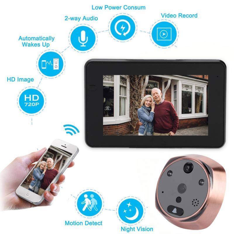 100-240 V 720 P Ghz Wifi Netzwerk Smart Guckloch Video Türklingel Echt-zeit Intercom Türsprechanlage Uns Auswahlmaterialien
