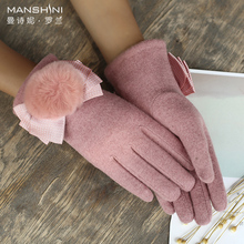 Wool blends gloves woman autumn and winter add velvet keep warm telgefingers solid Touch Screen 0817