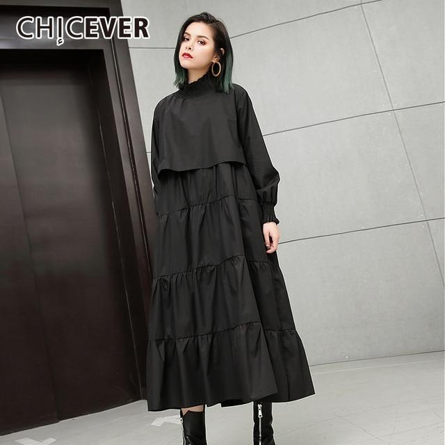 086685d6cb CHICEVER 2018 jesień czarna sukienka dla kobiet luźne duży rozmiar  elastyczny kołnierz z długim rękawem sukienki