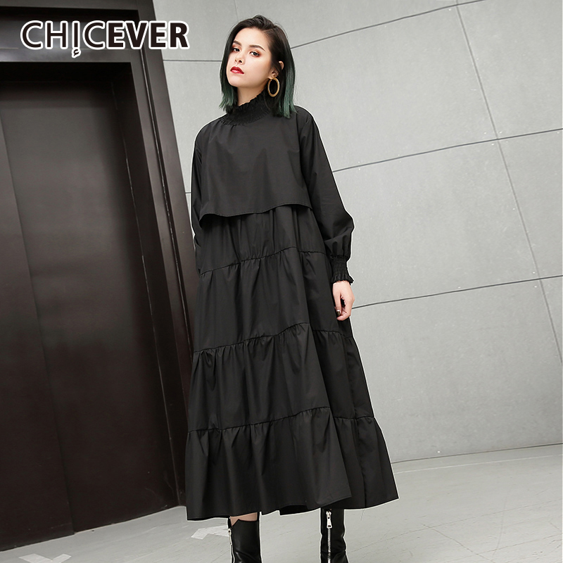 CHICEVER 2020 automne robe noire pour femmes grande taille col élastique à manches longues femmes robes femmes vêtements mode nouveau
