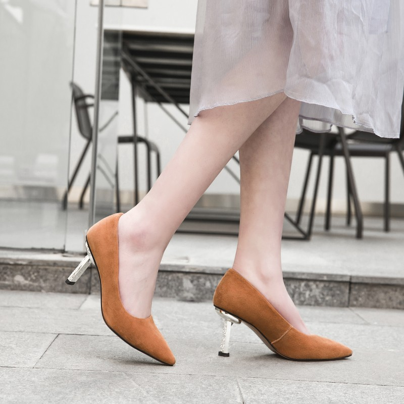 2019 New Pointed toe Solid Color Pumps For Woman Dress Shoe in Slip on Thin Heels with High Heel Stilettos Spring Shallow Mouth2019 New Pointed toe Solid Color Pumps For Woman Dress Shoe in Slip on Thin Heels with High Heel Stilettos Spring Shallow Mouth