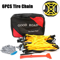 New 6 pcs TPU Snow Chains Universal Car Suit 165 265mm Tyre Winter Roadway Safety Tire Chains Snow Climbing Mud Ground Anti Slip
