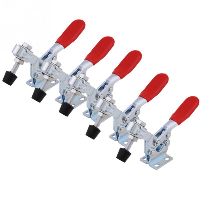 5 adet hızlı serbest bırakma kelepçesi 227Kg Anti kayma yatay geçiş kelepçeleri sabit itme çekme tipi fikstür el aletleri