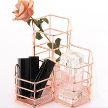 Makeup Brush Holder Hexagon Vase Metal Mesh Basket Desk Organizer Wire Golden Pen Pencil Hot Hollow Holder Beauty Makeup Kit
