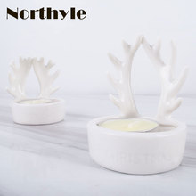 Genuine Dream house DH BS136843 reindeer xmas buck horn candle holder christmas tealight deer candlestick gift