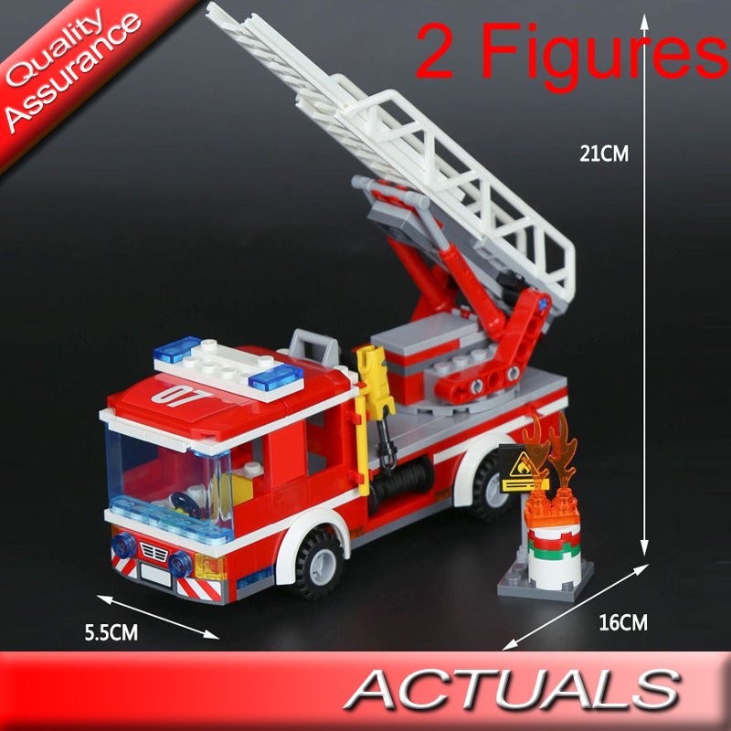 02054 Bela City Fire Fire Ladder Truck Building Blocks Model 230+pcs Bricks Educational Toys Compatible With Lego 60107