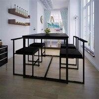 VidaXL 5 шт. обеденный стол наборы для ухода за кожей классически элегантный обеденный стол из ДВП и пвх стулья с железной рамки мебель дома 244269