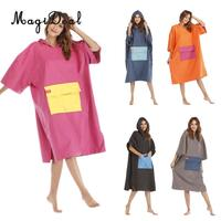 Foldable Surf Wetsuit Changing Robe Beach Hooded Poncho Microfiber Quickly Drying Swimming Bathrobe Home Bath Towel