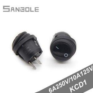 Рокер switch 20 мм круглый принести водонепроницаемый чехол 2 ноги 2 положения KCD1 черный 6A 250 V/10A125V (10 шт)