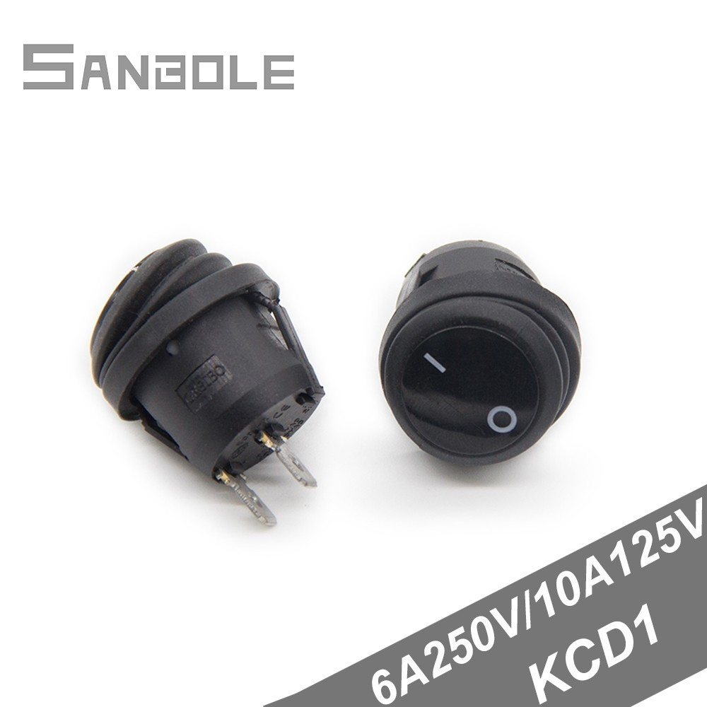 Rocker Switche 20mm Round Bring Waterproof Cover 2 Foot 2 Position KCD1 Black 6A 250V 10A125V 10PCS in Switches from Lights Lighting