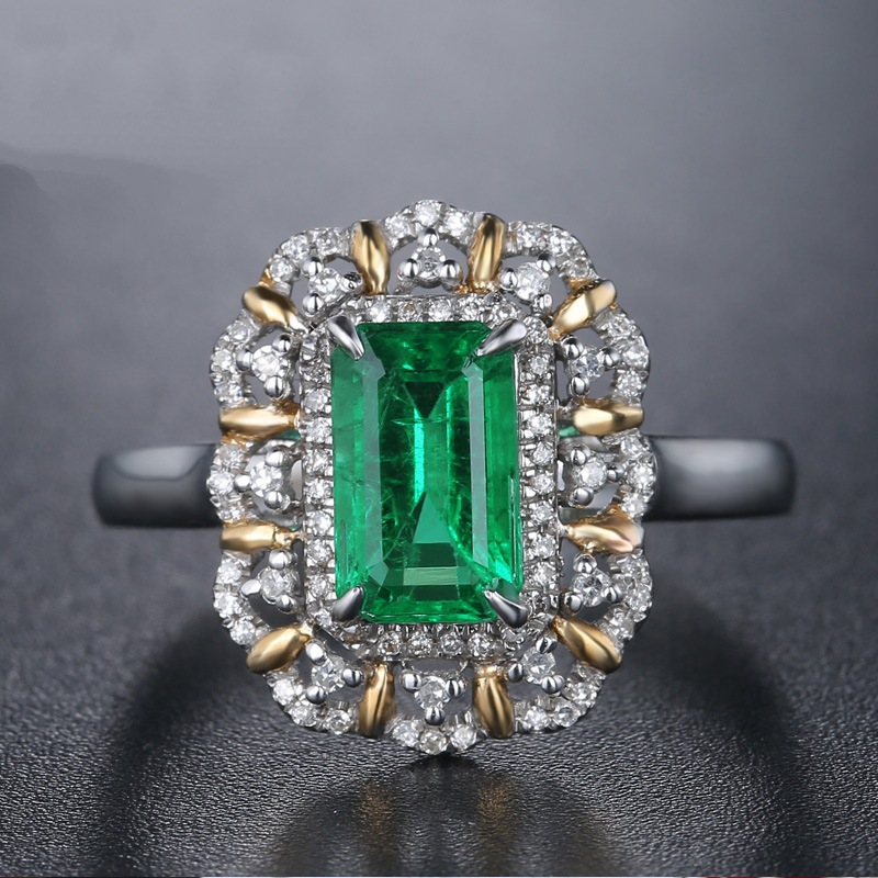 925 Sliver Color Emerald Square Diamond Ring Anillos Bague Bizuterias For Women Jewelry Turquoise Topaz Diamond Ring Jewelry