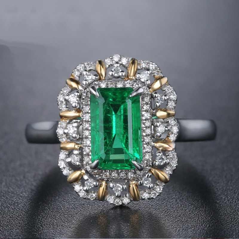 Anillo de diamante cuadrado de Esmeralda pura de plata 925 Anillos Bague joyería de plata 925 anillo de diamante de topacio Turquesa