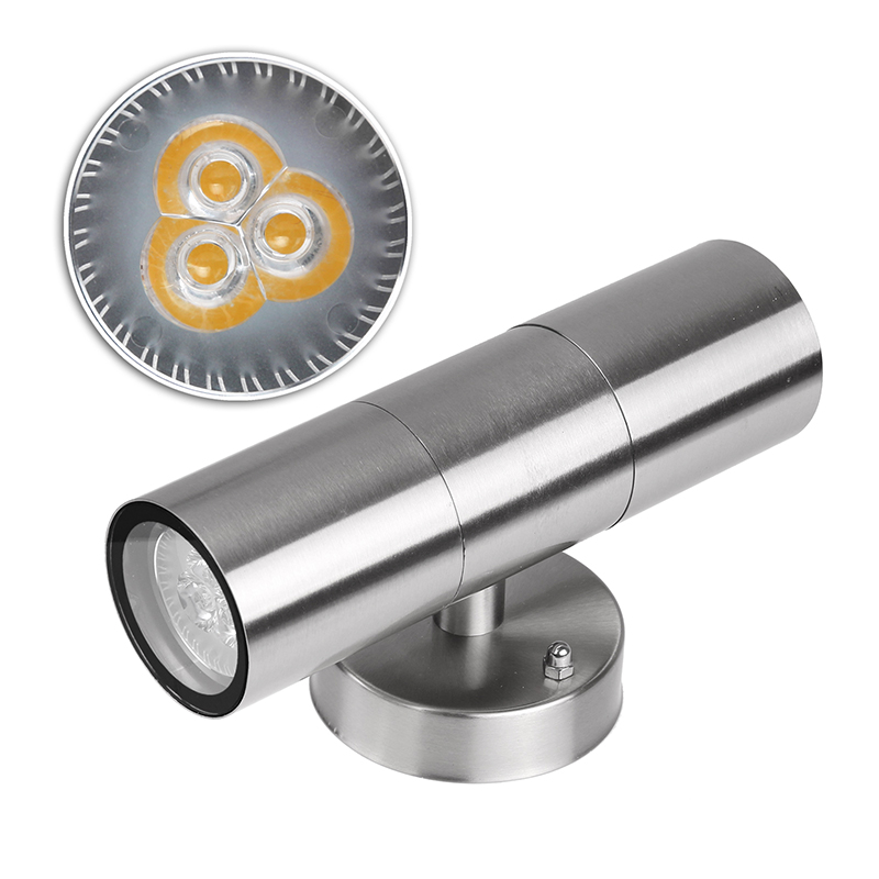 LED Wall Light Waterproof IP65 Stainless Steel Up Down GU10 Double Wall Lamp Indoor Outdoor AC 85 265V