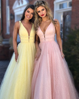Sexy Prom Dresses 2018 Pink A line Deep V neck Sleeveless Tulle Long Party Dresses Formal Elegant Dresses Vestido Formatura