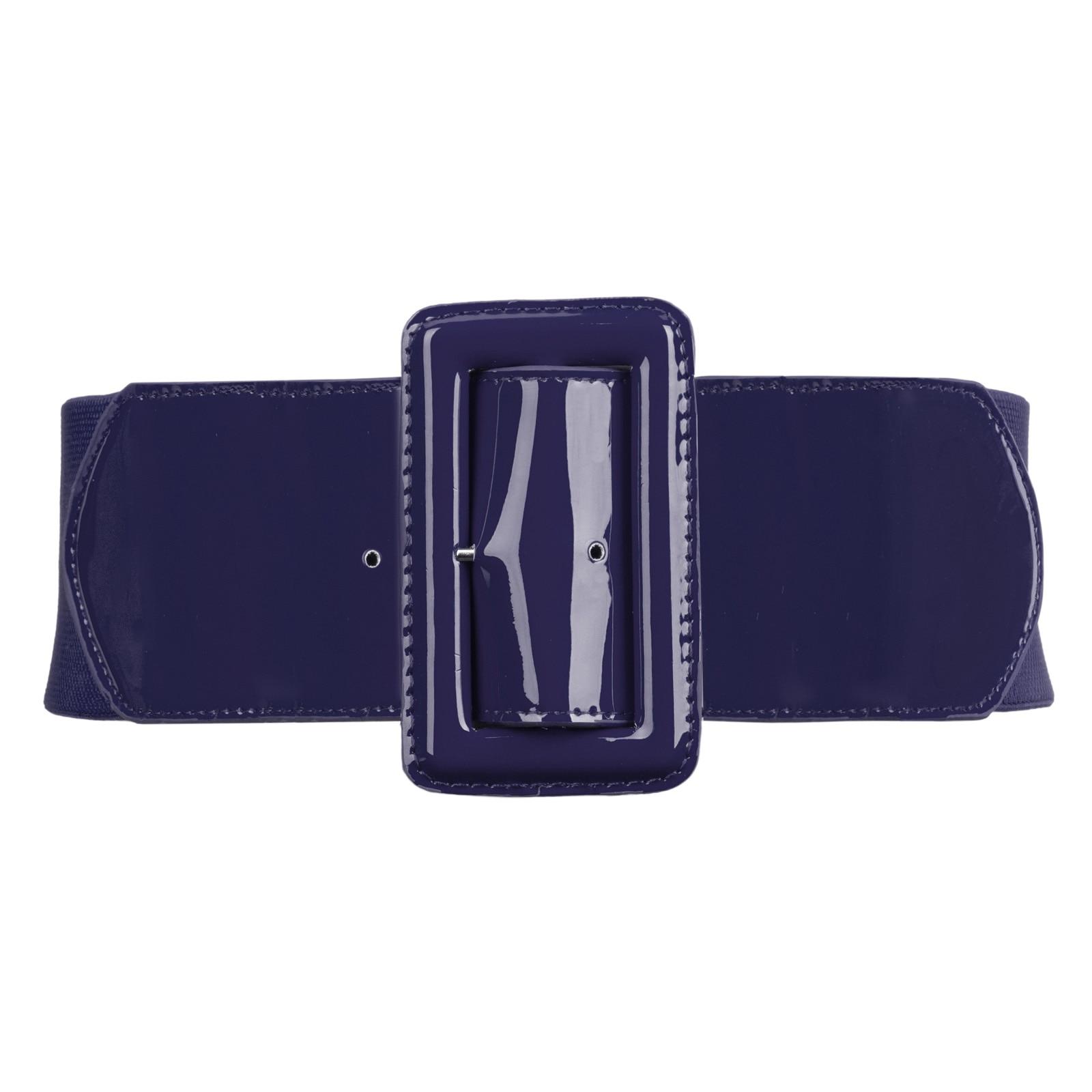 GK  Belt For Women Lady Wide Belts Brand Design Solid Color Metal Buckle Stretchy Elastic Waist Belt Waistband Plus Size