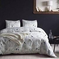 Turetrip Cotton Bedding Set Cute Cat Comforter Cover Twin Queen King Size Duvet Cover With Pillowcase Zipper Closure 3PCS Set