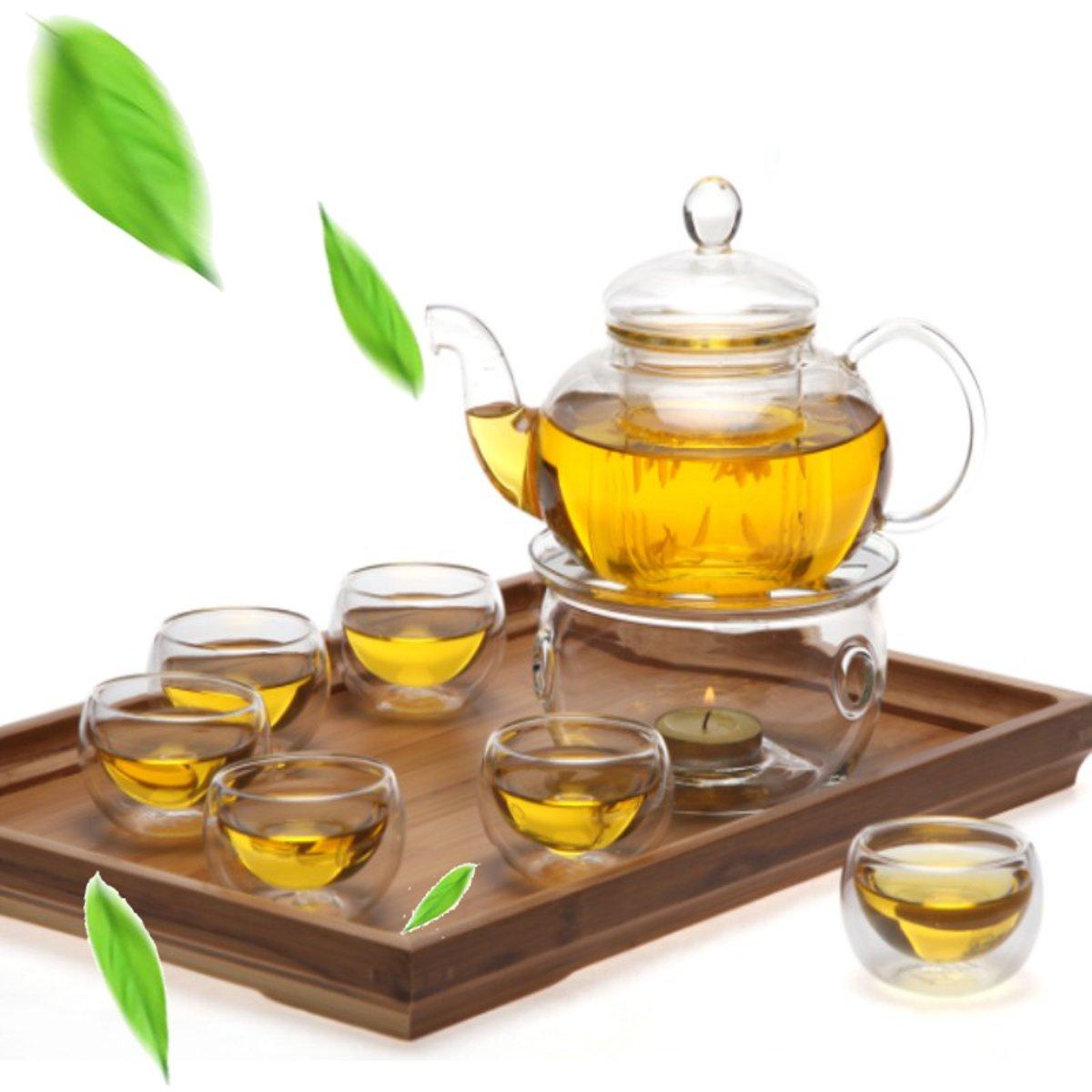 8 Pcs/Set Clear Glass Tea Double Wall Teapot & Cup Filtering Drink Home Decor Handmade Teapot Set Heat Resisting Warmer