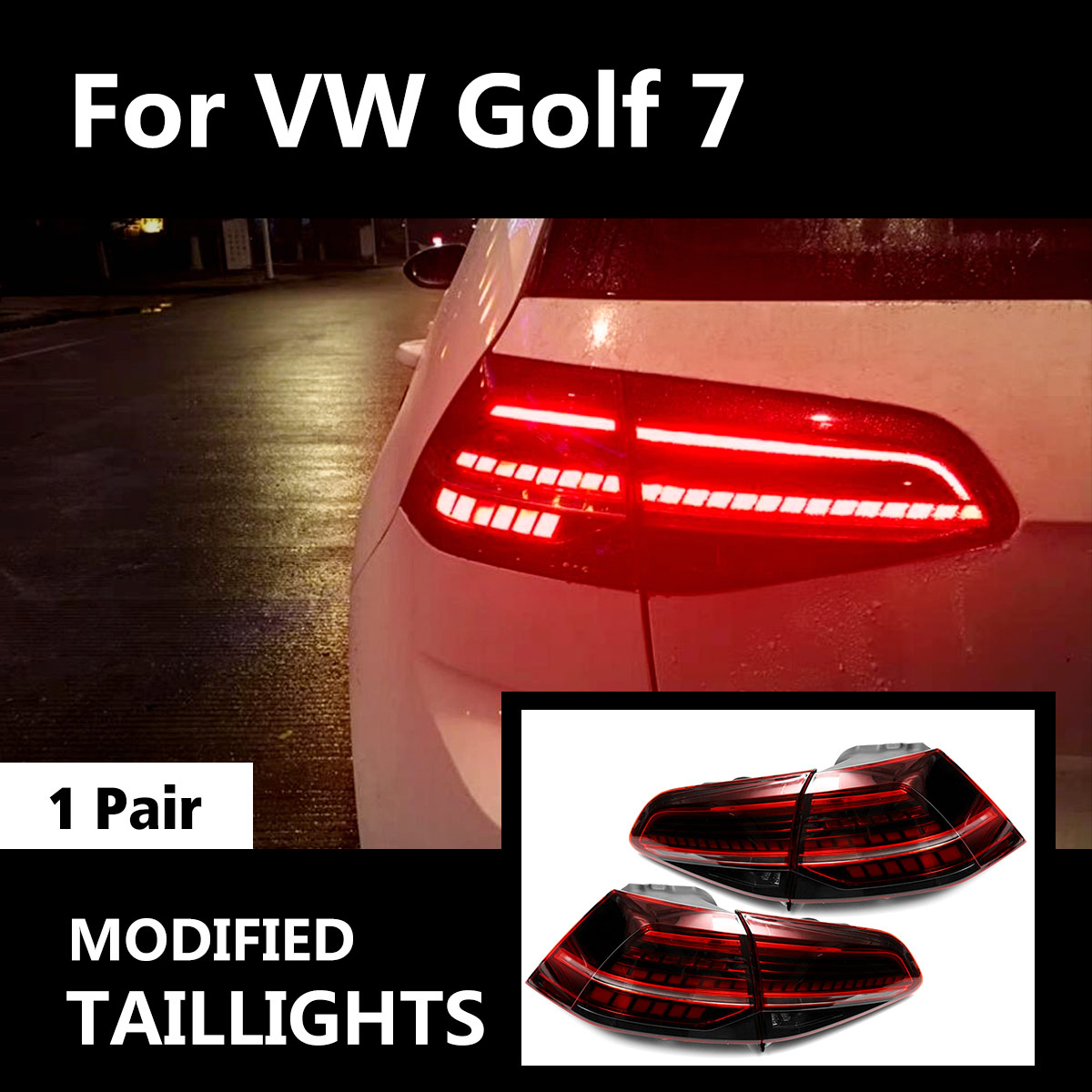 LED Dynamic Tail Light for VW Golf7 MK7 Golf 7 Golf7.5 MK 7.5 Car Styling Taillights Tail Lights LED Rear Lamp Automobile DIY