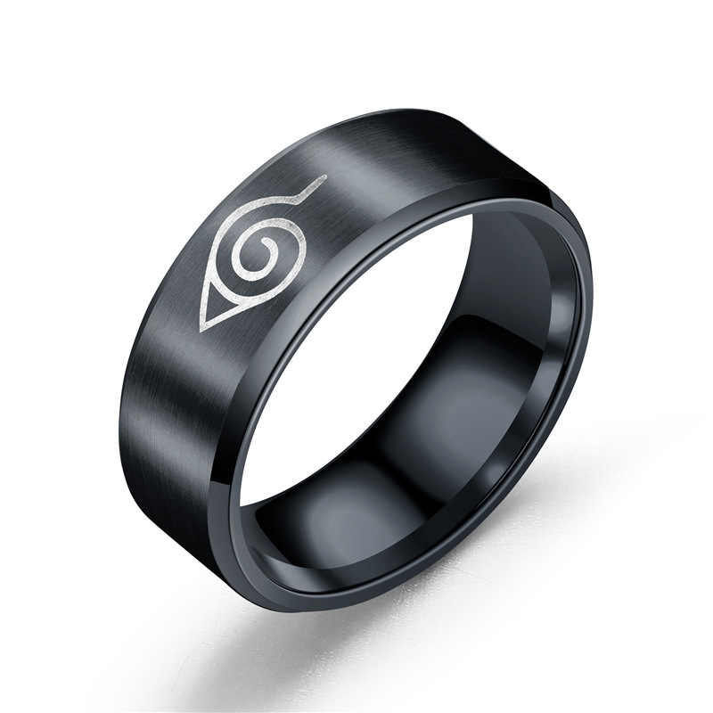 ProYearn 8mm Naruto Titanium Steel Men Ring Anime Around Stainless Steel Ring for Men Tungsten Ring