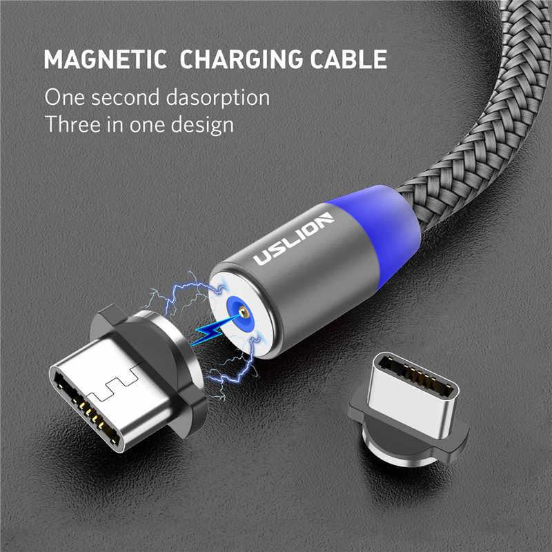 Cable USB magnético USLION Carga rápida Cable USB tipo C Cargador de imán Carga de datos Cable micro USB Cable de teléfono móvil Cable USB