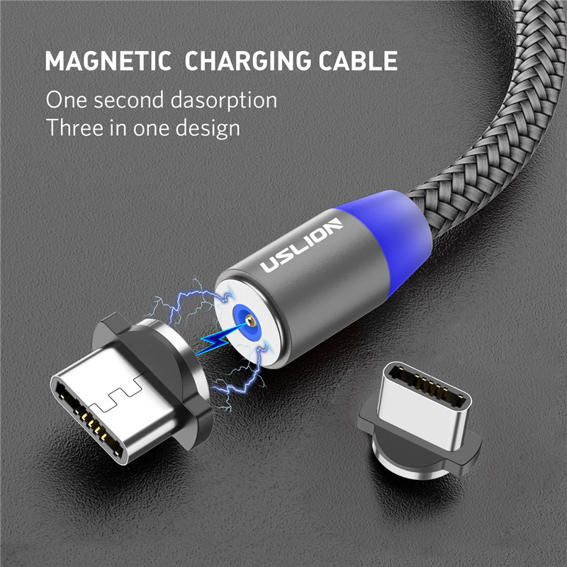 USLION Magnetic USB Cable Fast Charging USB Type C Cable Magnet Charger Data Charge Micro USB Cable Mobile Phone Cable USB Cord Mobile Phone Accessories Mobile Phone Cables Smartphones