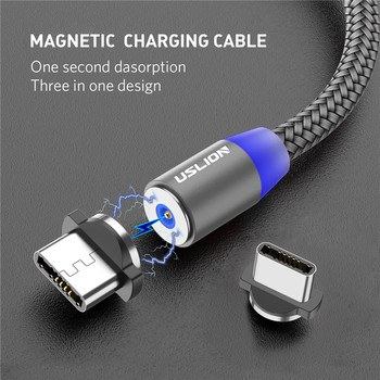 USLION Magnetic USB Cable Fast Charging USB Type C Cable Magnet Charger Data Charge Micro USB Cable Mobile Phone Cable USB Cord 1