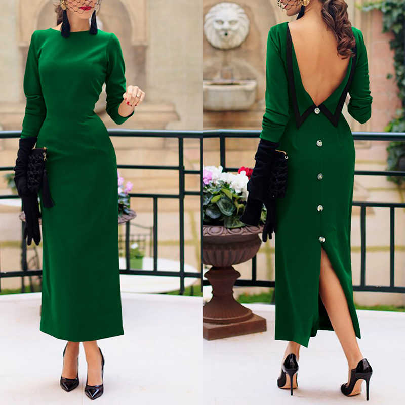 chic classy backless dresses Women Ladies Solid Color Round Neck Long Sleeve  V-back button 2441f382439a