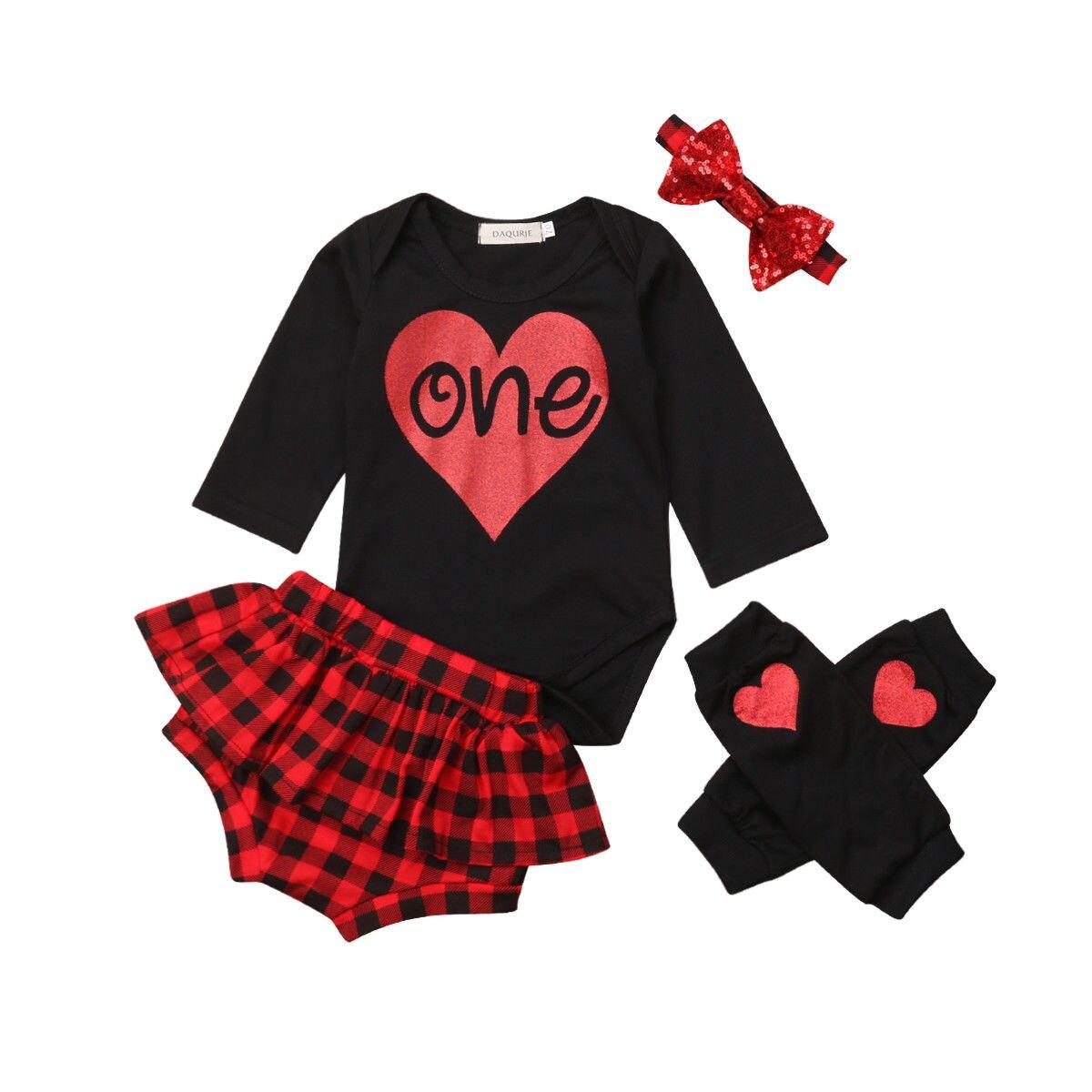 Infant Baby Girls Clothing Sets Outfits Cotton Romper+Plaid Shorts Pants Warm Leg 4PCS Cute Baby Girl Clothes Set