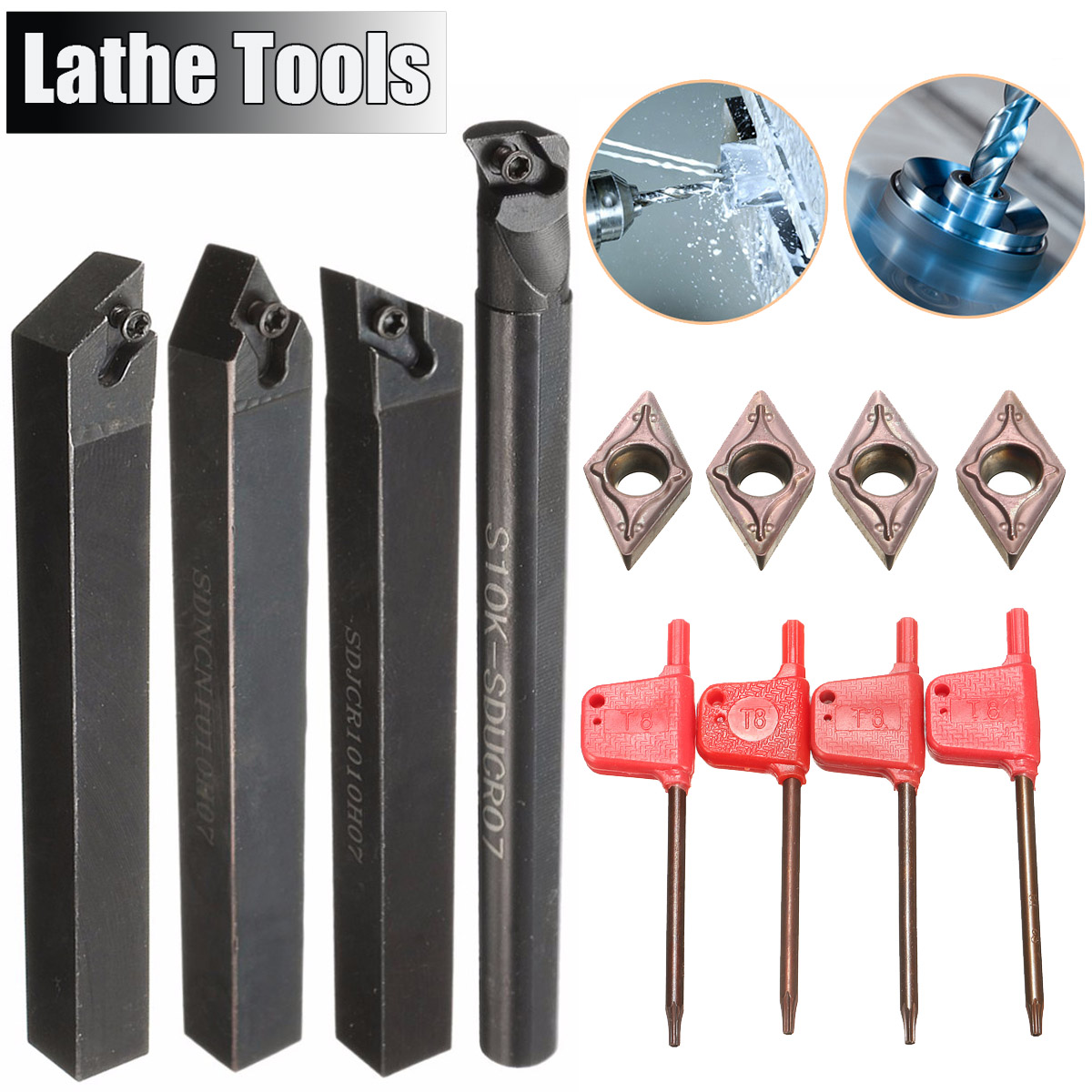 4Pcs Lathe Boring Bar Turning Tool Holder 10mm With 4pcs DCMT0702 Insert 100mm/125mm 4 Degree Turning Tool Set