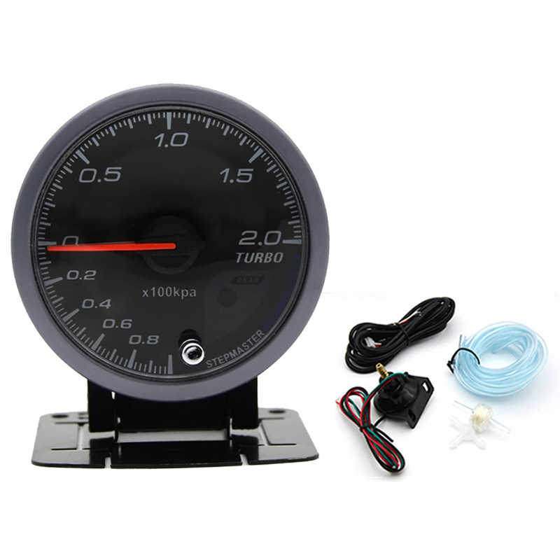 LED Turbo Boost Gauge Meter 60mm Pointer -1~2 Bar Vacuum Press Meter 12V DC